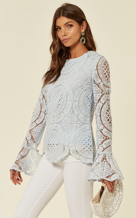 Crochet Long Fluted Sleeve Top in Baby Blue by The ModestMe Collection