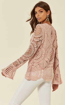 Crotchet Long Fluted Sleeve Top in Pastel Pink by The ModestMe Collection