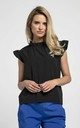 Sleeveless Top with Frill Around Neck and Arms in Black by Bergamo