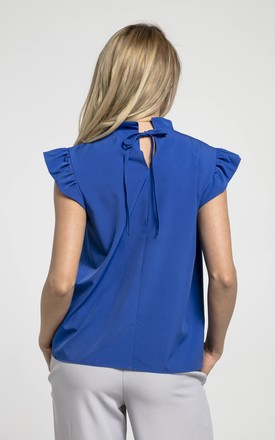 Sleeveless Top with Frill Around Neck and Arms in Blue by Bergamo