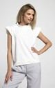 Sleeveless Top with Frill Around Neck and Arms in White by Bergamo