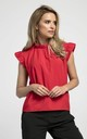 Sleeveless Top with Frill Around Neck and Arms in Red by Bergamo