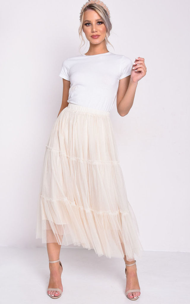 High waisted layered frill trim tulle midi skirt beige by LILY LULU FASHION