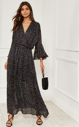 Maxi Wrap Dress In Black Polka Dot by Bella and Blue Product photo