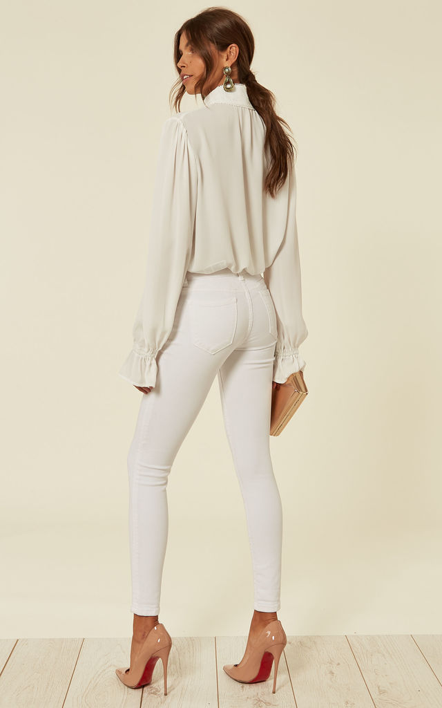 White Jewel Embellished Stretch Skinny Jean by The ModestMe Collection