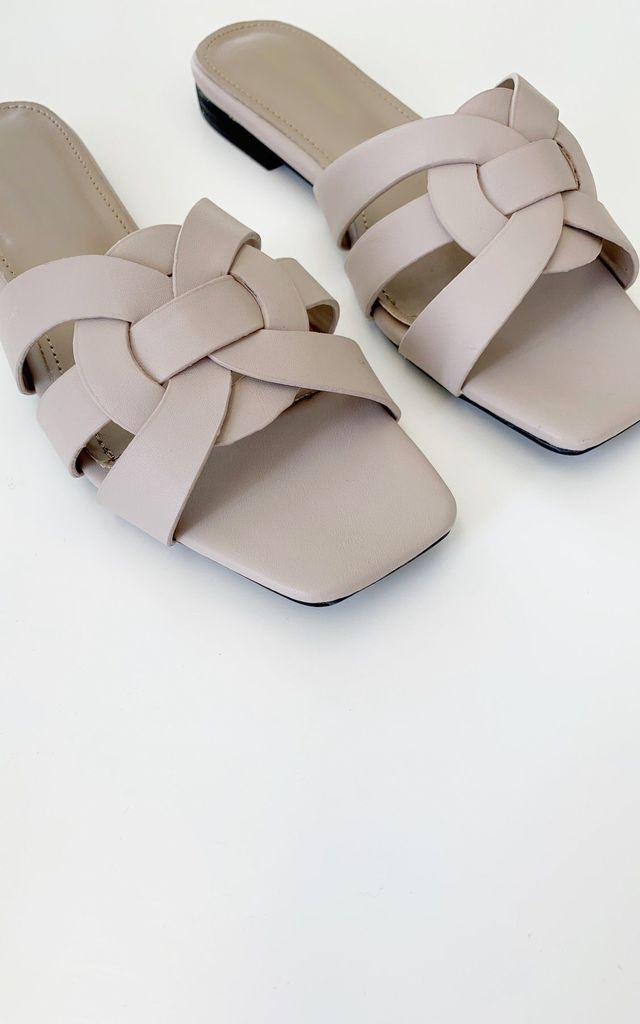 Layla Cross Front Flat Sandal | Mink by Vita Grace