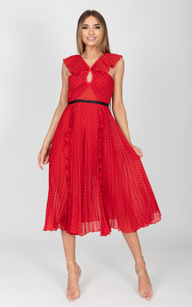 Willow Pleated Halter Dress in Red by Cari's Closet