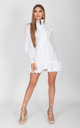 Florence White trim detail Dress by Cari's Closet