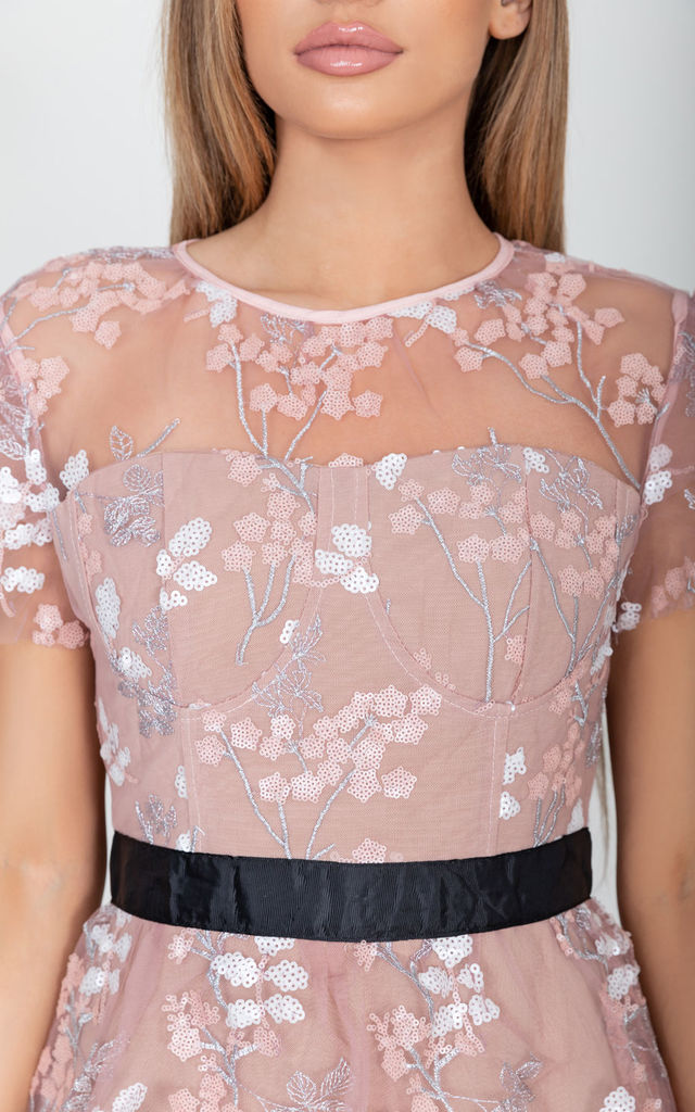 Eleanor Lace Floral Dress in Pink by Cari's Closet