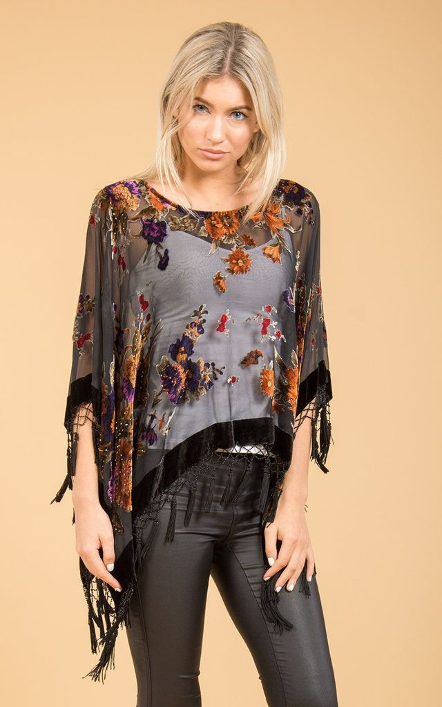 Floral Poncho With Hand Beaded Fringes Black by Spiritual Hippie