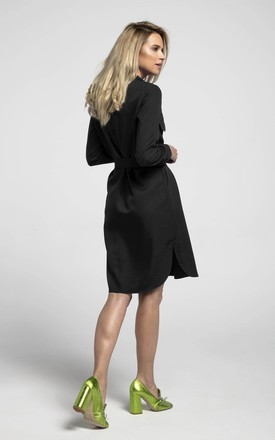 Shirt Dress Tied at Waist with Front Pockets in Black by Bergamo