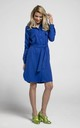 Shirt Dress Tied at Waist with Front Pockets in Blue by Bergamo