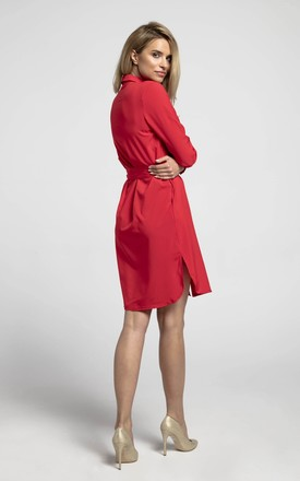 Shirt Dress Tied at Waist with Front Pockets in Red by Bergamo