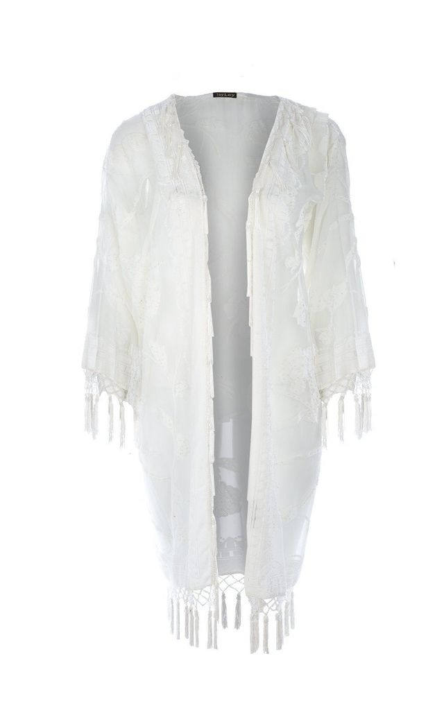 Floral Long Jacket Kimono With Fringes White by Spiritual Hippie