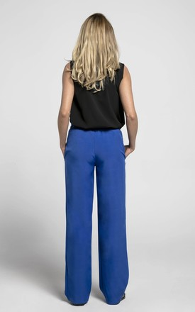 Loose Leg Trousers with Pockets in Blue by Bergamo
