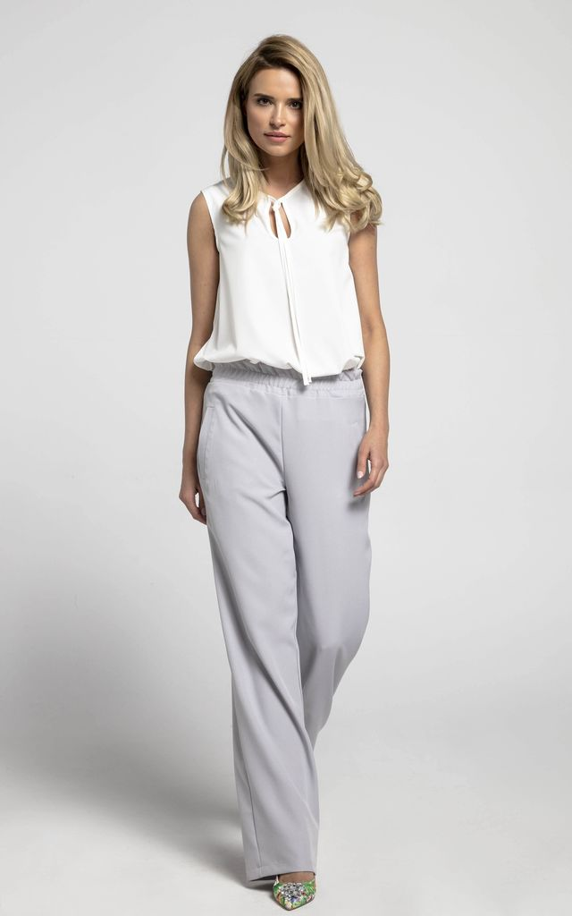 Loose Leg Trousers with Pockets in Grey by Bergamo