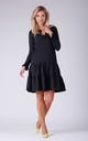 Long Sleeve Dress with Frill and Lace in Black by Bergamo