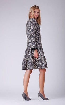 Long Sleeve Dress with Frill and Lace in Grey Print by Bergamo