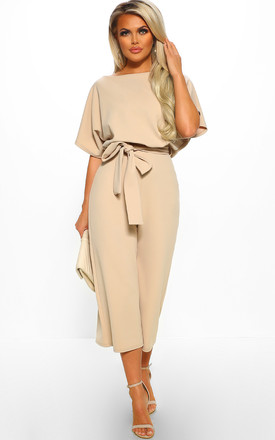 Always Chic Stone Belted Culotte Jumpsuit by Pink Boutique