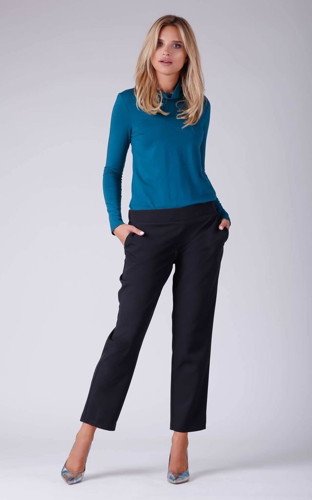 Office Trousers with Pockets in Black by Bergamo