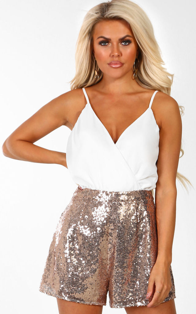 6c27e43a Easy Does It White And Rose Gold Sequin Wrap Front Playsuit by Pink Boutique