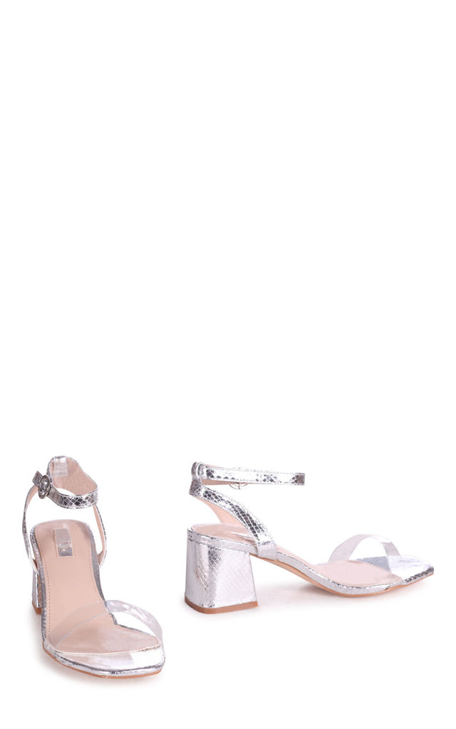 Wish Silver Faux Lizard Perspex Block Heeled Sandal by Linzi