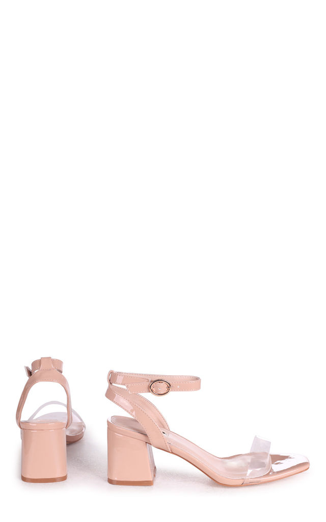 Wish Nude Patent Perspex Block Heeled Sandal by Linzi