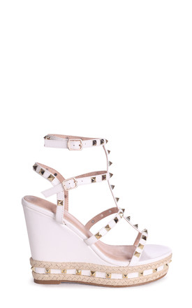 Shanon White Wedge With Studded Detail, Ankle Strap & Rope Trim by Linzi