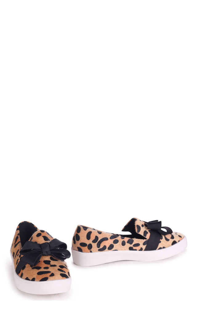 Chic Leopard Faux Pony Classic Slip On Skater with Organza Bow Front Detail by Linzi