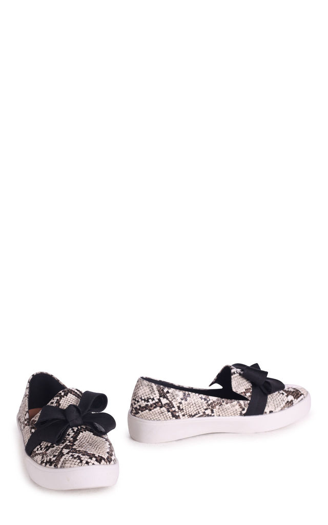Chic Natural Snake Classic Slip On Skater with Organza Bow Front Detail by Linzi
