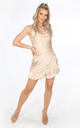 Nude Cowl Neck Frill Satin Playsuit by Dressed In Lucy