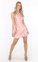 Pink Cowl Neck Frill Satin Playsuit by Dressed In Lucy