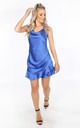 Cobalt Blue Cowl Neck Frill Satin Playsuit by Dressed In Lucy