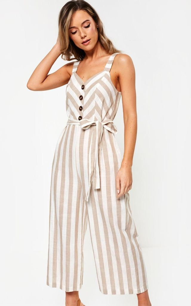 Striped Jumpsuit in Beige by Marc Angelo