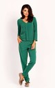 Jumpsuit with Long Sleeve Pleat and V-neck in Green by Bergamo