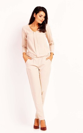 Jumpsuit with Long Sleeve Pleat and V-neck in Beige by Bergamo