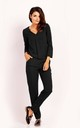 Jumpsuit with Long Sleeve Pleat and V-neck in Black by Bergamo