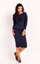 Cotton Midi Dress with Pockets and Long Sleeve in Navy Blue by Bergamo