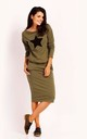 Cotton Midi Dress with Pockets and Long Sleeve in Khaki by Bergamo