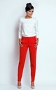 Straight Leg Office Trousers with Pockets in Red by Bergamo