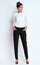 Straight Leg Office Trousers with Pockets in Black by Bergamo
