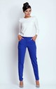 Straight Leg Office Trousers with Pockets in Blue by Bergamo