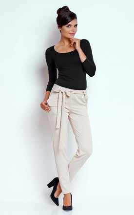 Elastic Trousers Tied at Waist with Pockets in Beige by Bergamo