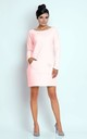 Loose Cotton Mini Dress with Long Sleeve in Light Pink by Bergamo