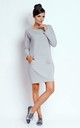 Loose Cotton Mini Dress with Long Sleeve in Grey by Bergamo