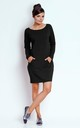 Loose Cotton Mini Dress with Long Sleeve in Black by Bergamo