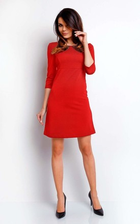 092109006b3 Mini Dress With 3/4 Sleeves And Round Neck In Red