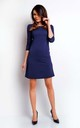 Mini Dress with 3/4 Sleeves and Round Neck in Navy Blue by Bergamo