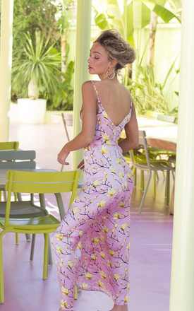 Louisa Silky Maxi Dress in Pink and Yellow Floral Print by De Las Flores