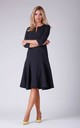 A Line Flared Dress with 3/4 Sleeves in Black by Bergamo